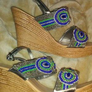 Nicole Miller 8 Blue Beaded Wedge Heel Sandal